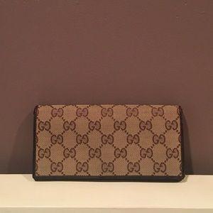 GUCCI Monogram Canvas Leather Wallet